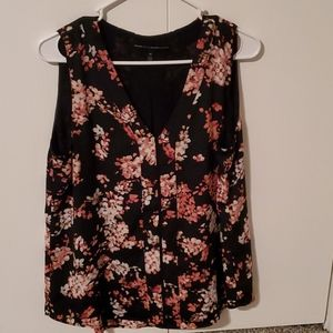 WHBM Sleeveless Floral Top Lined Blouse